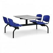 Esstisch für Schulen und Kantinen Biedrax JS3834S - Sitz blau, tisch grau
