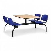 Esstisch für Schulen und Kantinen JS3834B - Sitz blau, Tisch Buche