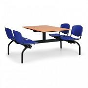 Esstisch für Schulen und Kantinen Biedrax JS3834T - Sitz blau, Tisch Kirsche