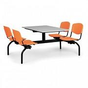 Esstisch für Schulen und Kantinen Biedrax JS3840S - Sitz orange, Tisch grau