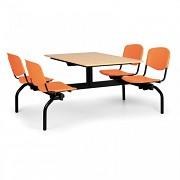 Esstisch für Schulen und Kantinen Biedrax JS3840B - Sitz orange, Tisch Buche