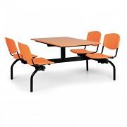 Esstisch für Schulen und Kantinen Biedrax JS3840T - Sitz orange, Tisch Kirsche