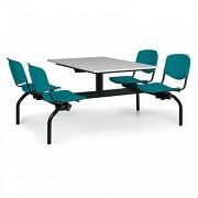 Esstisch für Schulen und Kantinen Biedrax JS3843S - Sitz grün, Tisch grau