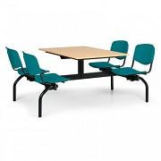 Esstisch für Schulen und Kantinen Biedrax JS3843B - Sitz grün, Tisch Buche