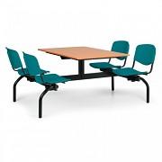 Esstisch für Schulen und Kantinen Biedrax JS3843T - Sitz grün, Tisch Kirsche