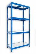 Steckregal blau 35 x 75 x 180 cm - 4 Metalböden x 120 kg
