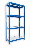 Steckregal blau 60 x 90 x 180 cm - 4 Metalböden x 120 kg