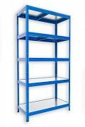 Steckregal blau 35 x 60 x 180 cm - 5 Metalböden x 120 kg