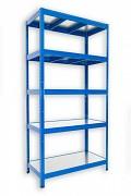 Steckregal blau 35 x 120 x 180 cm - 5 Metalböden x 120 kg