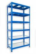 Steckregal blau 35 x 120 x 180 cm - 6 Metalböden x 120 kg