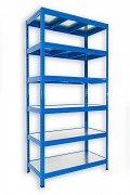 Steckregal blau 45 x 90 x 180 cm - 6 Metalböden x 120 kg
