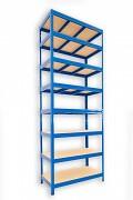 Metallregal mit Holzböden 45 x 90 x 210 cm - 8 Fachböden x 275kg, blau