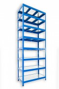 Steckregal blau 50 x 120 x 270 cm - 8 Metalböden x 120 kg