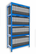 Aktenregal mit Holzböden 45 x 75 x 180 cm - 5 Fachböden x 175kg, blau
