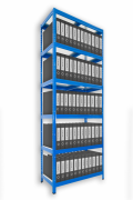 Aktenregal mit Holzböden 60 x 75 x 210 cm - 6 Fachböden x 175kg, blau