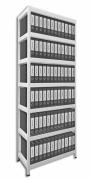 Aktenregal mit Weißböden 60 x 90 x 270 cm - 7 Fachböden x 175 kg, weiß