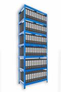 Aktenregal mit Weißböden 60 x 120 x 270 cm - 7 Fachböden x 175 kg, blau
