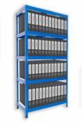 Aktenregal mit Weißböden 35 x 90 x 180 cm - 5 Fachböden x 175 kg, blau