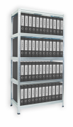 Aktenregal mit Weißböden 35 x 90 x 180 cm - 5 Fachböden x 175 kg, verzinkt