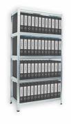 Aktenregal mit Weißböden 35 x 120 x 180 cm - 5 Fachböden x 175 kg, verzinkt