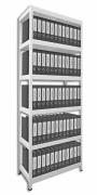 Aktenregal mit Metallböden 40 x 90 x 210 cm, 6 fachböden x 100 kg, weiss