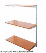 Wandregal - Anbauregal 20 x 60 x 100 cm, 3 Fachboden - Farbe silber, Boden Kirsche