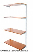 Wandregal - Anbauregal 50 x 80 x 150 cm, 4 Fachboden - Farbe silber, Boden Kirsche