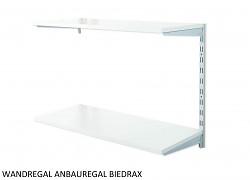 Wandregal - Anbauregal 20 x 40 x 50 cm, 2 Fachboden - Farbe silber, Boden Grau