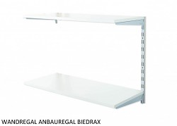 Wandregal - Anbauregal 20 x 60 x 50 cm, 2 Fachboden - Farbe silber, Boden Grau