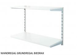 Wandregal - Grundregal 20 x 40 x 50 cm, 2 Fachboden - Farbe silber, Boden Grau