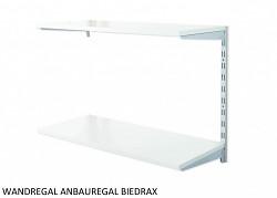 Wandregal - Anbauregal 25 x 40 x 50 cm, 2 Fachboden - Farbe silber, Boden Grau