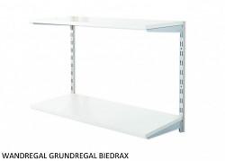 Wandregal - Grundregal 50 x 80 x 50 cm, 2 Fachboden - Farbe silber, Boden Grau