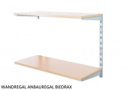 Wandregal - Anbauregal 20 x 40 x 50 cm, 2 Fachboden - Farbe silber, Boden Buche