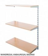 Wandregal - Anbauregal 25 x 40 x 100 cm, 3 Fachboden - Farbe silber, Boden Buche