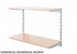 Wandregal - Grundregal 40 x 40 x 50 cm, 2 Fachboden - Farbe silber, Boden Buche