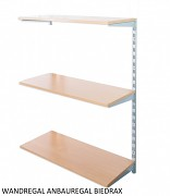 Wandregal - Anbauregal 40 x 40 x 100 cm, 3 Fachboden - Farbe silber, Boden Buche
