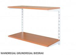 Wandregal - Grundregal 20 x 40 x 50 cm, 2 Fachboden - Farbe Weiss, Boden Kirsche