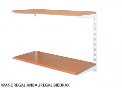 Wandregal - Anbauregal 20 x 40 x 50 cm, 2 Fachboden - Farbe Weiss, Boden Kirsche