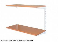 Wandregal - Anbauregal 20 x 80 x 50 cm, 2 Fachboden - Farbe Weiss, Boden Kirsche