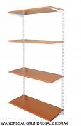 Wandregal - Grundregal 20 x 40 x 150 cm, 4 Fachboden - Farbe Weiss, Boden Kirsche