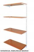 Wandregal - Anbauregal 20 x 40 x 150 cm, 4 Fachboden - Farbe Weiss, Boden Kirsche
