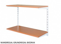 Wandregal - Grundregal 35 x 40 x 50 cm, 2 Fachboden - Farbe Weiss, Boden Kirsche