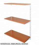 Wandregal - Anbauregal 40 x 40 x 100 cm, 3 Fachboden - Farbe Weiss, Boden Kirsche
