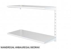 Wandregal - Anbauregal 20 x 40 x 50 cm, 2 Fachboden - Farbe Weiss, Boden Grau