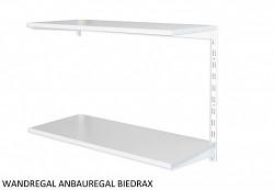 Wandregal - Anbauregal 20 x 60 x 50 cm, 2 Fachboden - Farbe Weiss, Boden Grau