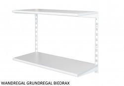 Wandregal - Grundregal 20 x 40 x 50 cm, 2 Fachboden - Farbe Weiss, Boden Grau