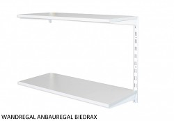 WANDREGAL - ANBAUREGAL 50 X 40 X 50 CM, 2 FACHBODEN - FARBE WEISS, BODEN GRAU