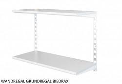 Wandregal - Grundregal 50 x 80 x 50 cm, 2 Fachboden - Farbe Weiss, Boden Grau
