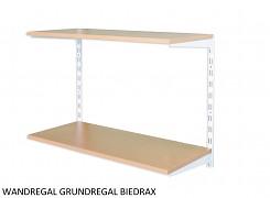 Wandregal - Grundregal 20 x 40 x 50 cm, 2 Fachboden - Farbe Weiss, Boden Buche