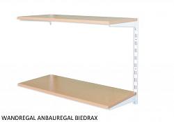 Wandregal - Anbauregal 20 x 40 x 50 cm, 2 Fachboden - Farbe Weiss, Boden Buche